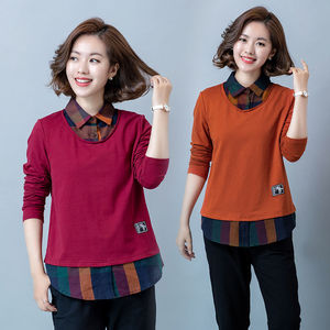 Net red large size women's shirt mother loaded base shirt Korean version was thin fake two long-sleeved T-shirt women's shirt tide