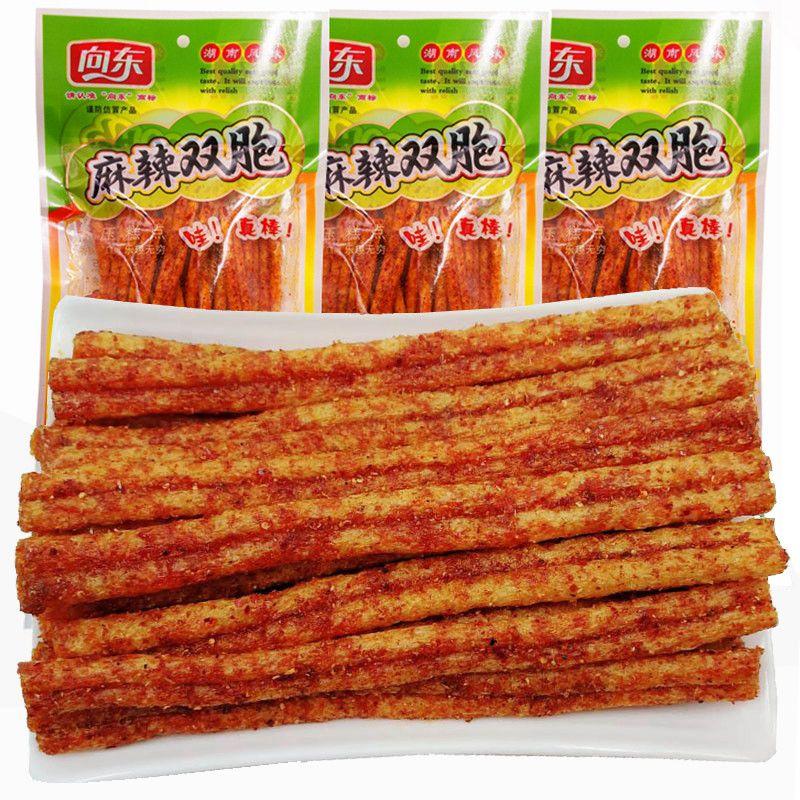 向东麻辣双胞辣条188g*3大包 麻辣面筋怀旧零食小吃湖南特产包邮图片