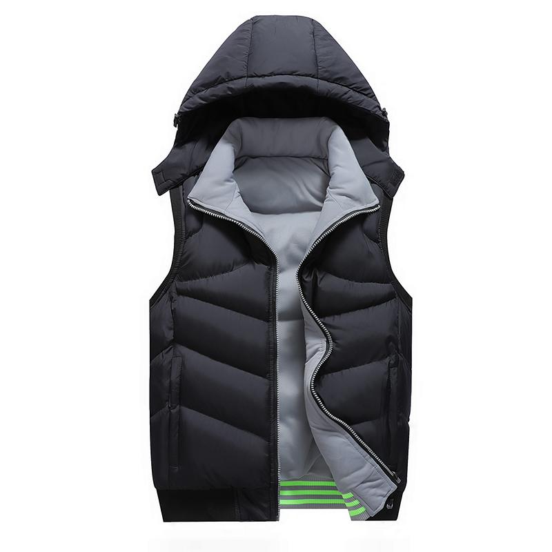 双面穿男士马甲秋冬连帽羽绒棉无袖背心休闲坎肩两面加厚保暖外套