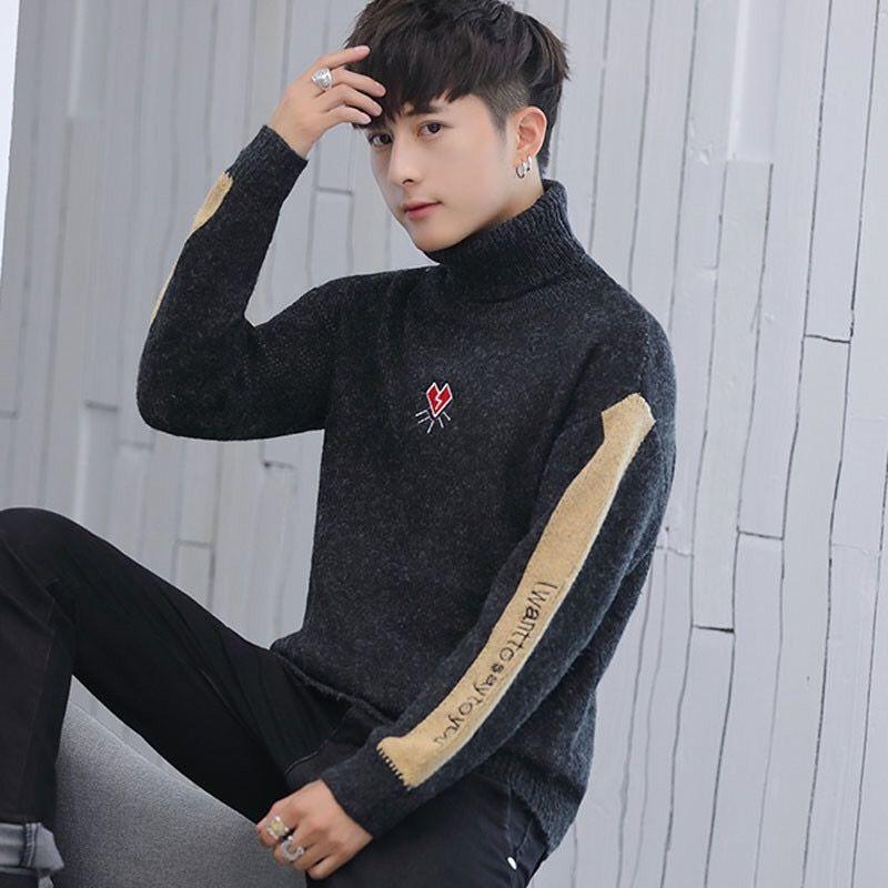 高领毛衣男士秋冬季潮流套头学生加厚针织衫韩版青少年宽松线衣男图片