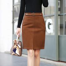 2017年冬季半身裙简约唯美气质时尚甜美白啊高腰口袋韩版潮流