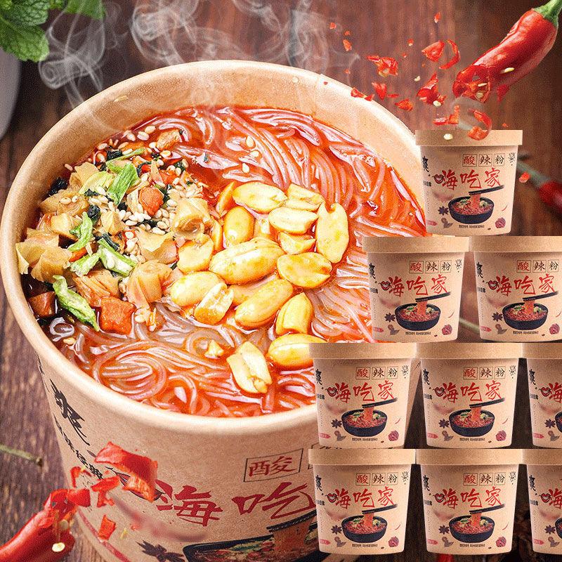 正宗嗨吃家重庆酸辣粉6桶装整箱方便红薯粉丝网红泡面批包邮发