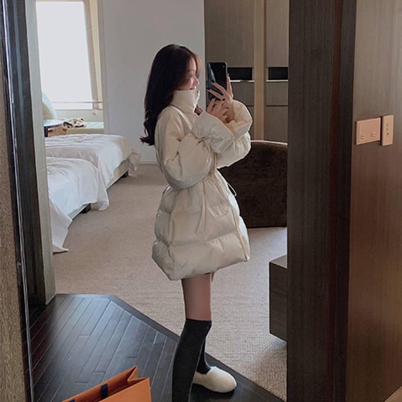 2019冬新款羽绒服女中长款时尚收腰短款矮个子白色外套