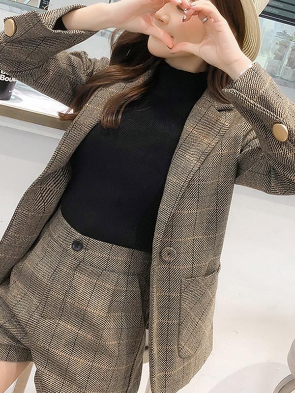 格子西装套装女新款秋冬加厚韩国休闲小西服外套气质英伦风两件套