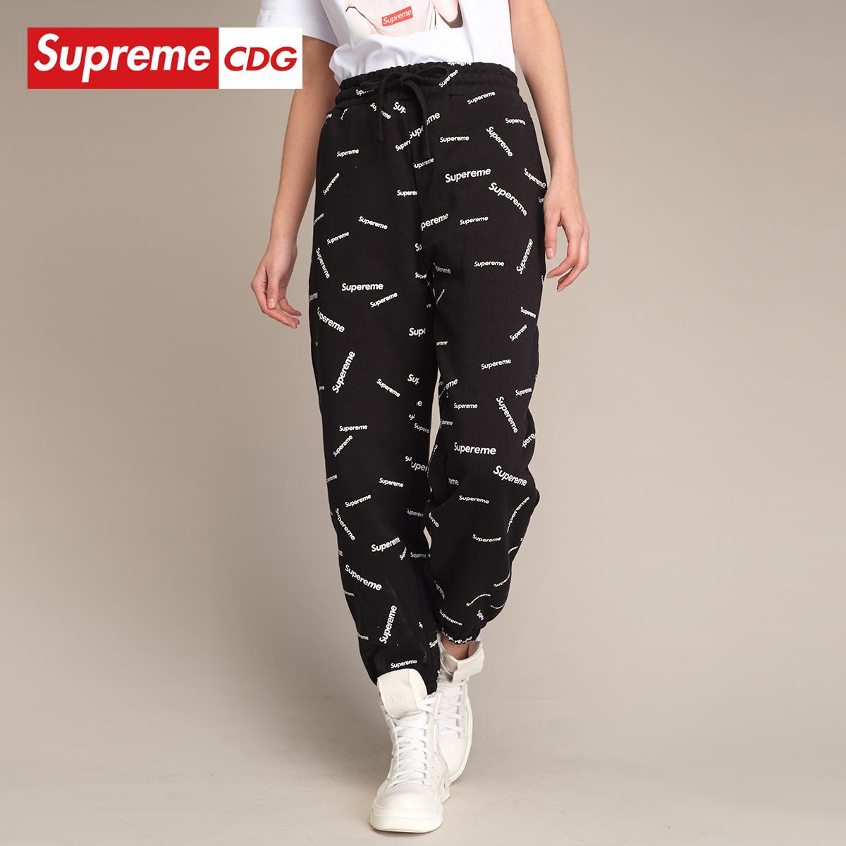 Supreme CDG 2020年春季新款街頭百搭白黑色簡約衛褲休閑褲運動褲