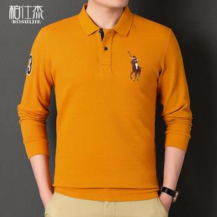 秋款纯色男装服饰男士长袖T恤纯棉polo有领商务休闲保罗衫体恤图片