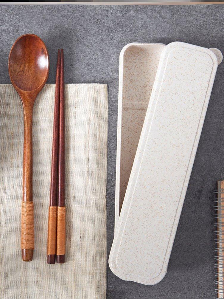 餐具套装长筷子勺子长柄高档木头便捷随身组合精致筷套装韩式盒装