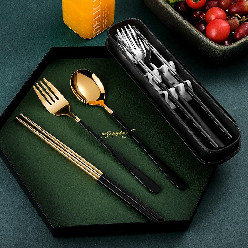 不锈钢便携筷子勺子套装餐具三件套成人学生叉子筷勺单人装收纳盒