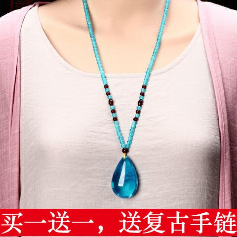 名族风琥珀水滴毛衣链蓝色蜜蜡复古项链雕刻长款花朵吊坠男女配饰
