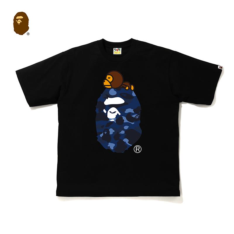 BAPE男装秋冬迷彩猿人头BABY MILO印花纯色短袖T恤11005XF