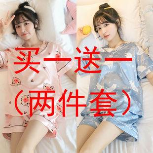冰丝睡衣女夏季短袖韩版可爱卡通薄款两件套家居服