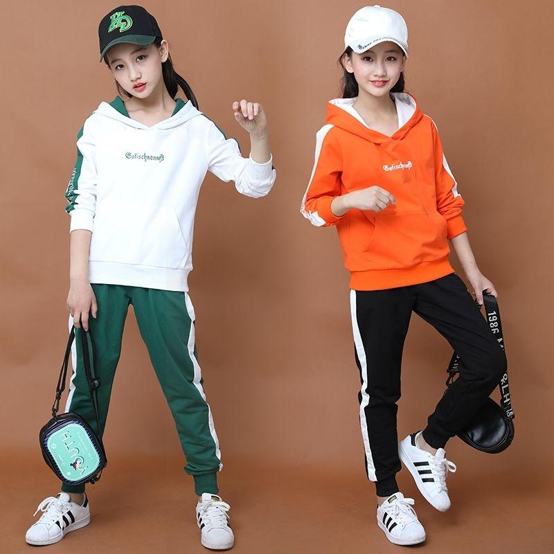 女大童春装运动套装2020新款12中大童卫衣连帽两件套15岁春秋时尚
