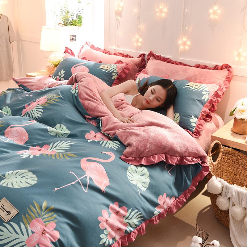 网红纯棉珊瑚绒四件套全棉加厚双面绒冬季法兰绒法莱绒床上床单被