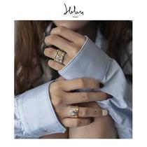 H&D原创设计BUMPY系列时尚玫瑰金不规则设计感叠戴K金戒指情侣款