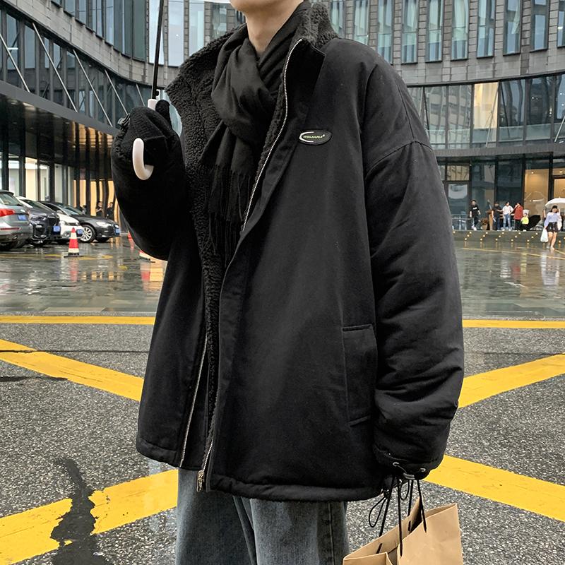 ROCKY家 冬季ins潮牌羊羔绒加厚棉衣外套男士两面穿保暖宽松棉袄满109元减10元