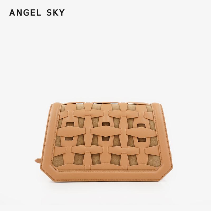 Angel Sky(箱包)真皮时尚流行女包斜跨单肩包同款编织小包