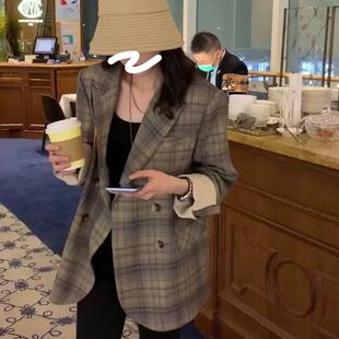 张贝贝ibell2020年新款复古格子高级感西装外套女设计感小众上衣