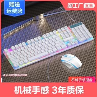 键盘办公打字鼠标套装机械手感台式