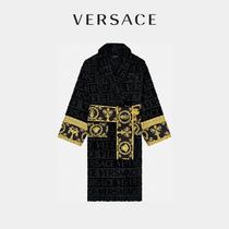 VERSACE/范思哲Baroque衣袖质感印花纹理男女同款浴袍包裹式腰带