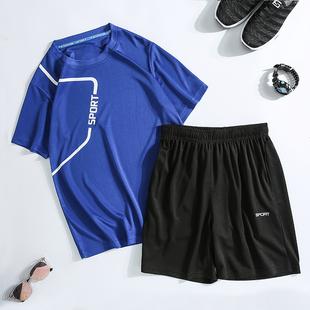 男士短袖t恤夏季潮流宽松大码休闲时尚运动套装跑步健身速干衣服
