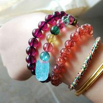 1天然水晶手链海纹石极光23超七月光石和田玉紫锂辉红纹石 下午场