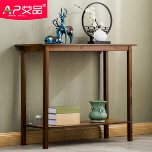 A few bamboo solid wood strip case new Chinese style porch table leaning against the wall porch cabinet desk for the table simple porch side table