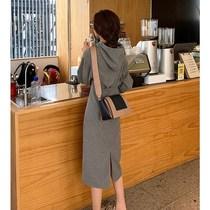 春款2021年早春新款女装长袖茶歇连帽灰色卫衣连衣裙子女春秋长裙