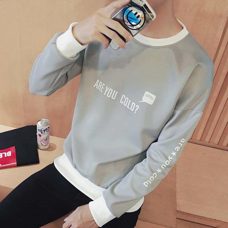 男士套头圆领加绒卫衣秋季2017新款韩版潮流冬季外套学生衣服嘻哈
