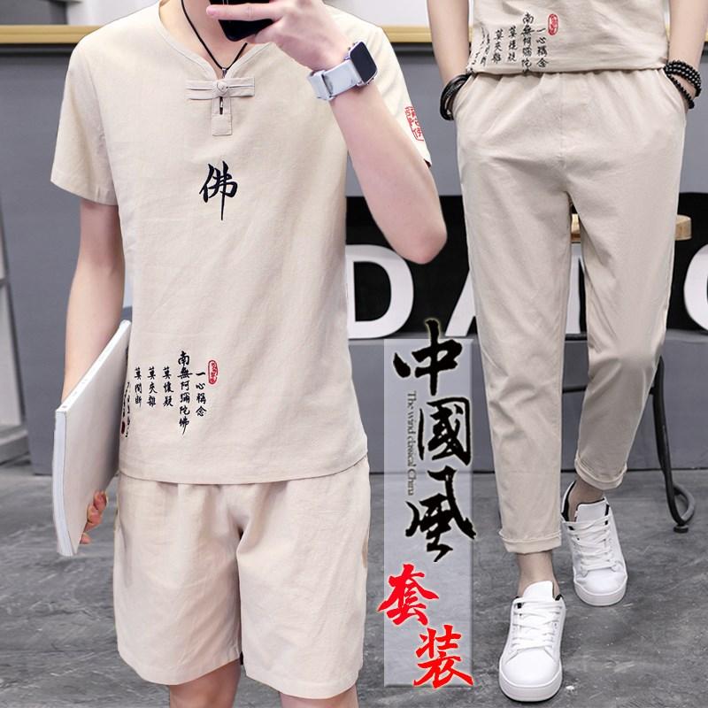 夏季亚麻套装男棉麻短袖t恤潮流v休闲中国风2019新款夏装潮牌衣服