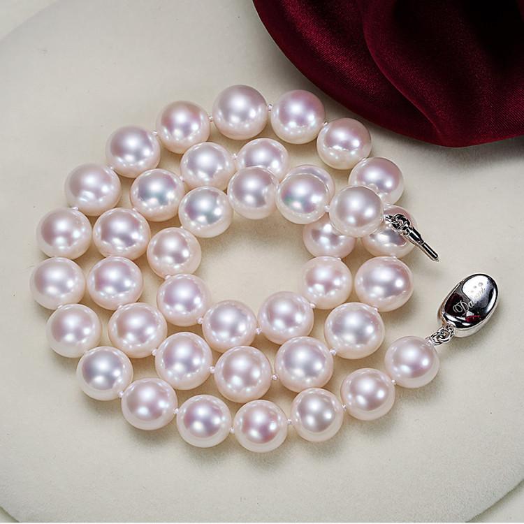 天然淡水珍珠项链近圆强光白色饱满正品时尚简约送妈妈婆婆母亲节