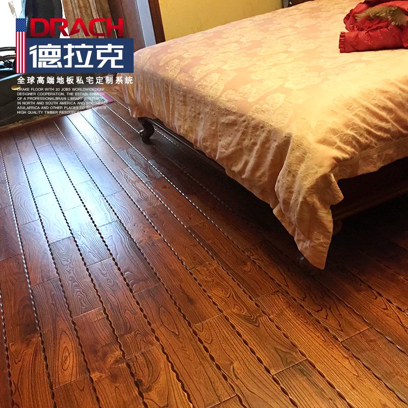 德拉克地暖纯实木地板地热厂家直销美式木地板金刚柚木店主自用款