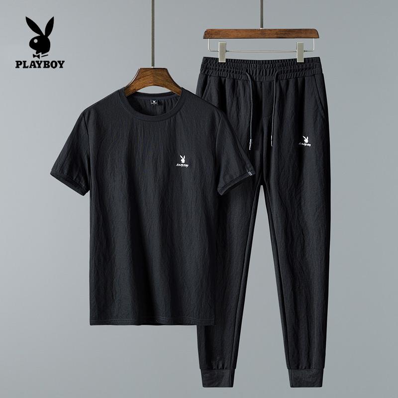 花花公子夏季运动套装男短袖潮牌休闲品牌夏天冰丝韩版潮流T恤男