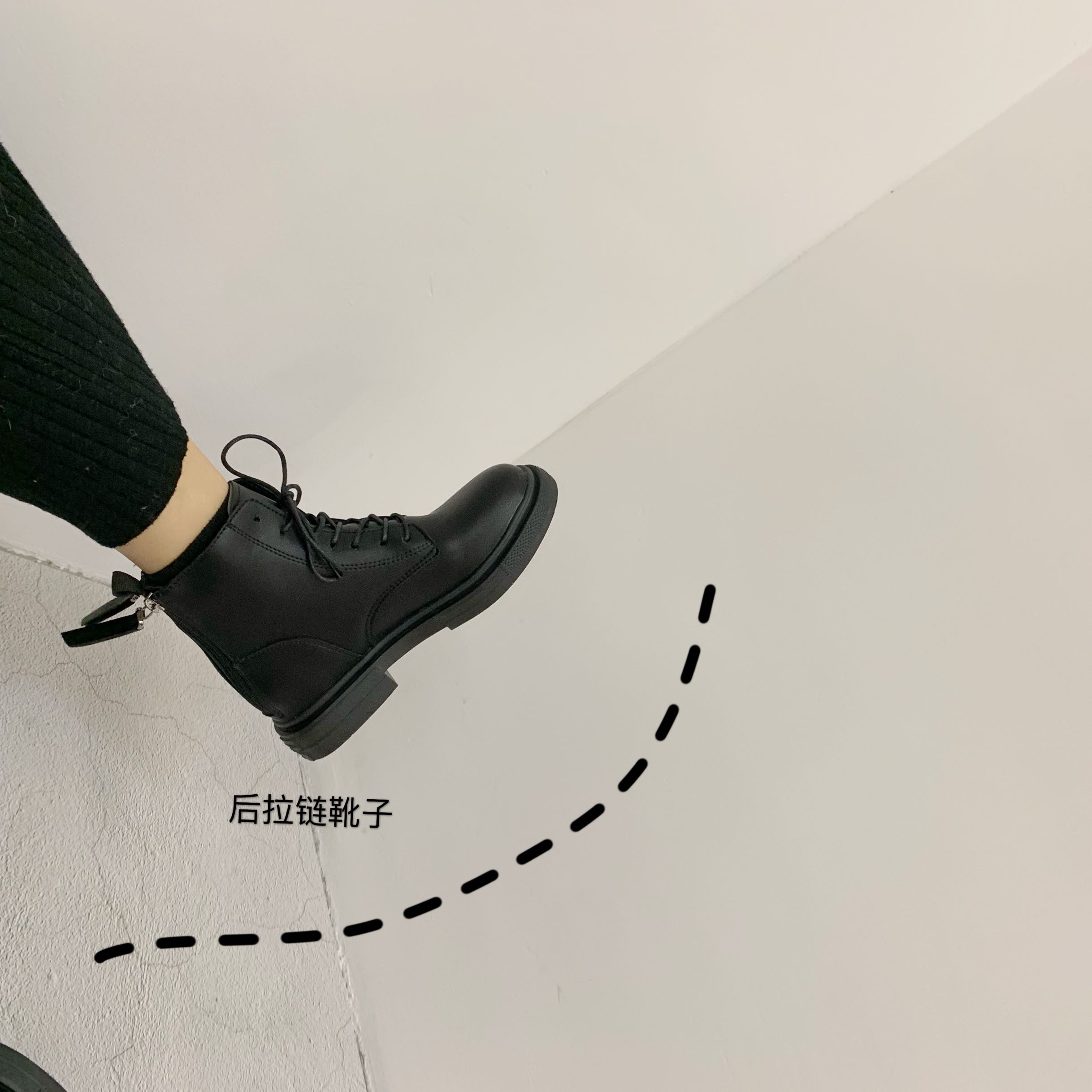 鞋子女短靴2019潮鞋冬季款加绒双拉链马丁靴英伦风韩版百搭机车靴-Nikki-