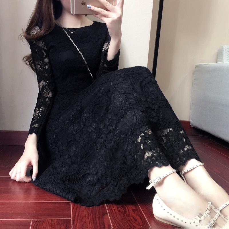 春季新年女装2018韩版女蕾丝连衣裙中长款长袖修身显瘦A字蕾丝裙