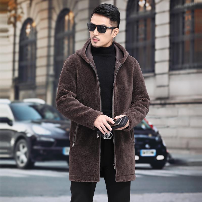 海宁羊剪绒男装皮毛一体真皮皮衣皮草大衣外套连帽冬款羊羔长款潮