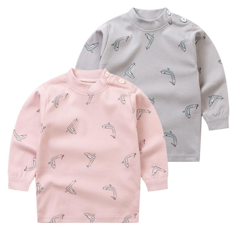 宝宝纯棉秋衣 男女童肩开单衣婴儿全棉打底单件儿童长袖开衫上衣