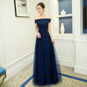 Banquet Evening dress 2018 New Fashion Slim Korean Long Hosts Dress Thin Shoulders Bridesmaid dress