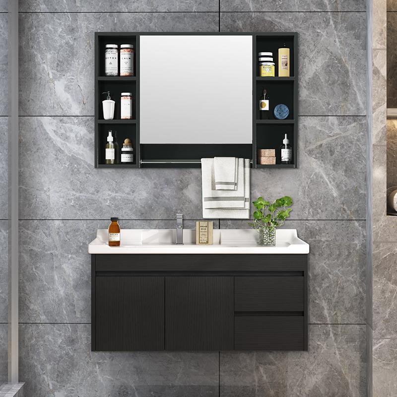 北欧实木浴室柜组合简约面盆卫生间镜柜洗漱台轻奢洗脸池洗手盆柜