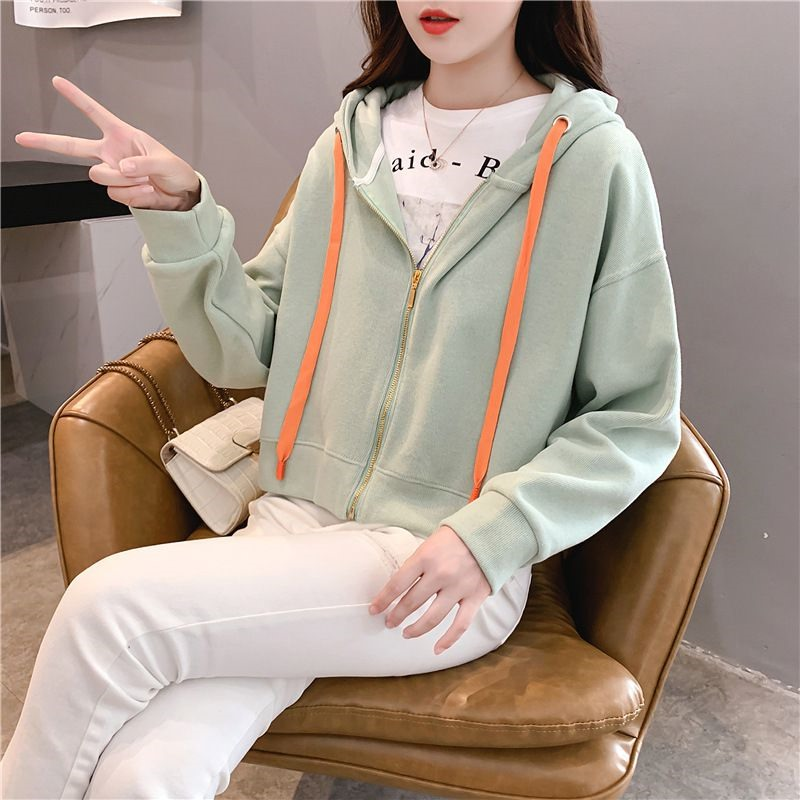 糖果色卫衣2020秋冬新款女装长袖宽松学院风小个子外套拉链开衫潮