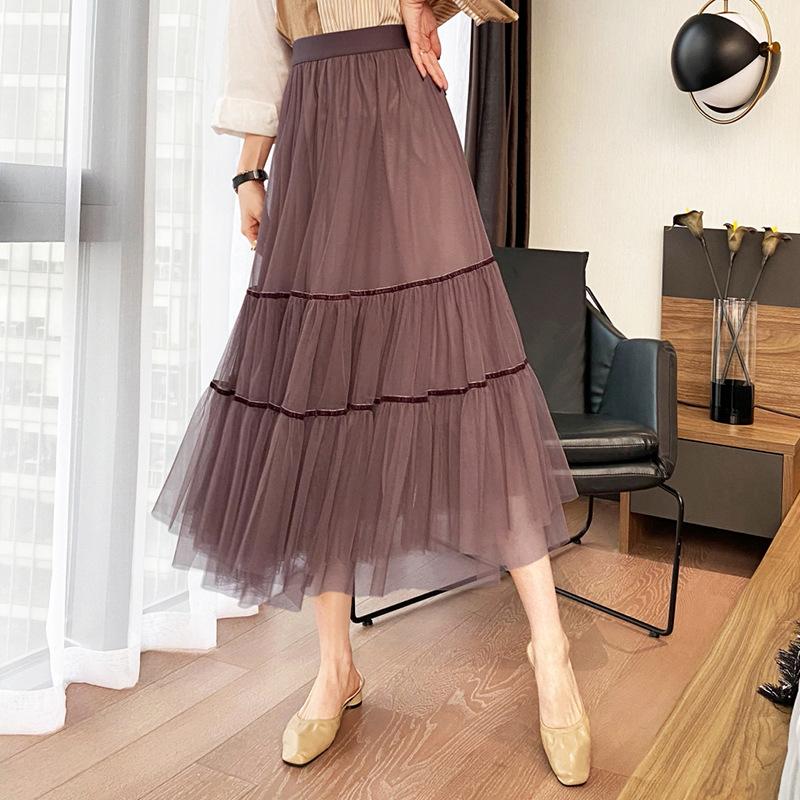 2021春季新款双层网纱蛋糕裙韩版时尚女装高腰显瘦网纱半身裙
