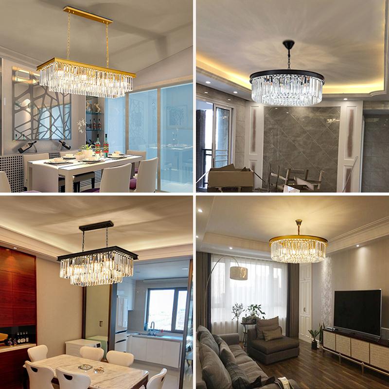 美式水晶吊灯圆形客厅灯后现代简约大气餐厅卧室创意个性北欧灯具-科源帝旗舰店
