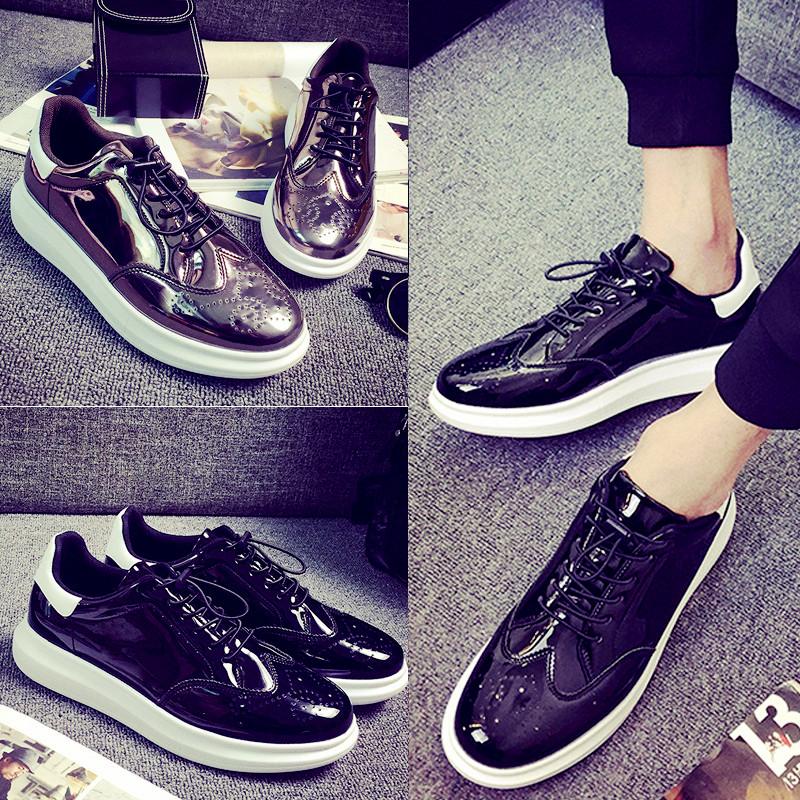 漆皮亮面情侣板鞋韩版布洛克松糕皮鞋透气休闲鞋镜面时装鞋男潮鞋