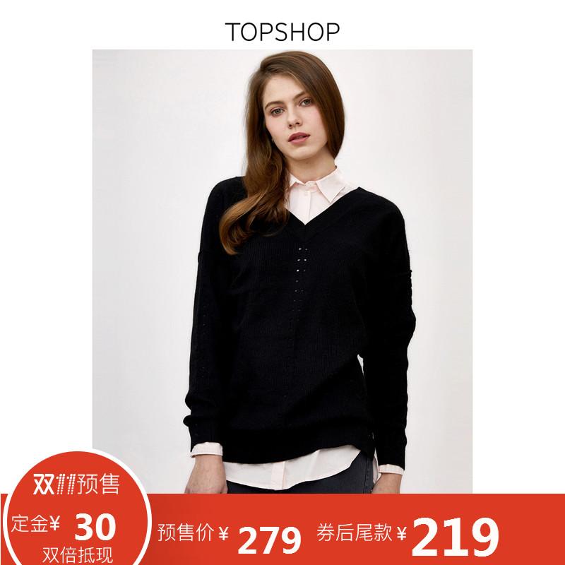[双11预售]TOPSHOP预售黑色纯色V领侧边开衩长袖针织衫|23L01MBLK
