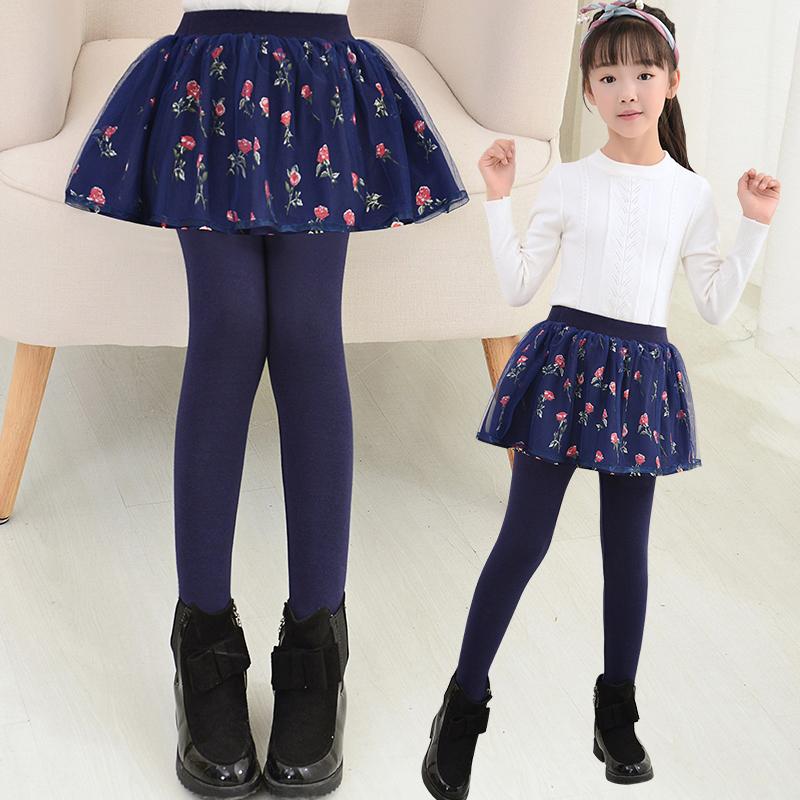 女童打底裤秋冬裤裙宝宝裤子中大童洋气裙裤儿童裤假两件加绒加厚
