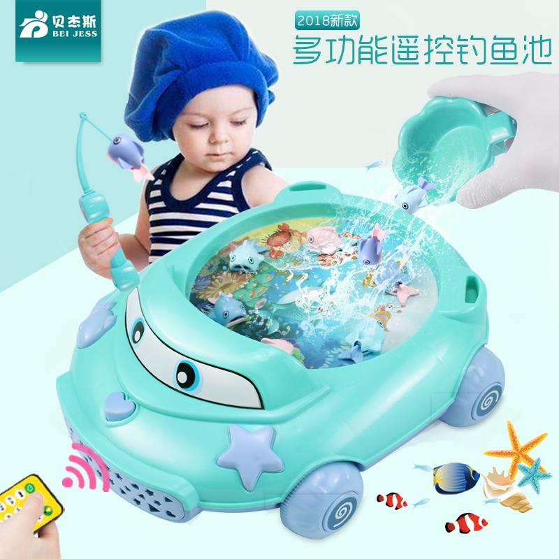 儿童磁性电动小猫钓鱼池套装宝宝益智男女小孩1-2-3-5周岁半玩具