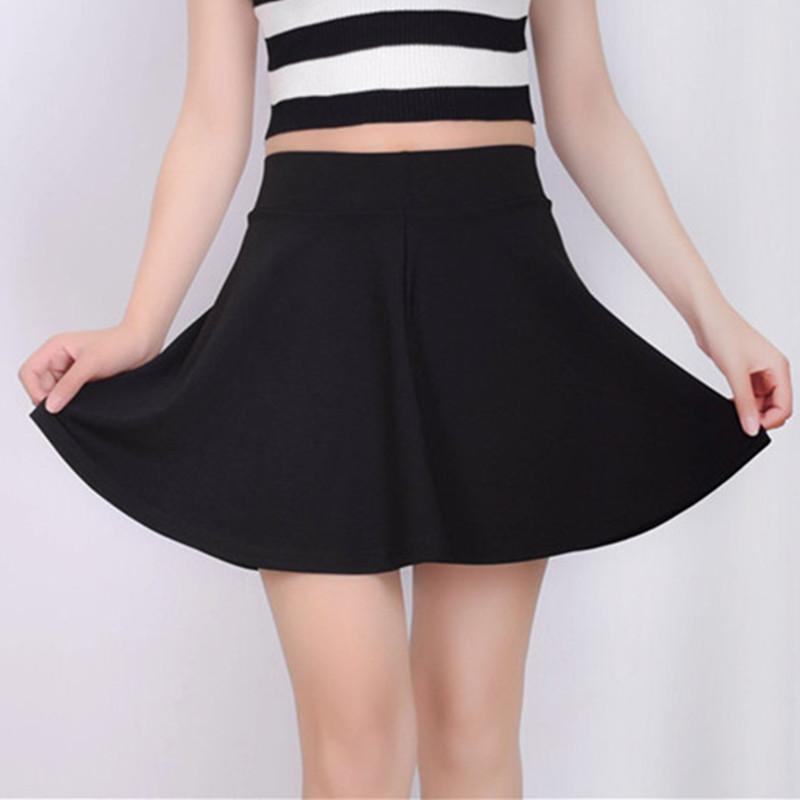 春夏新款防走光半身裙子蓬蓬A字超短裙经典黑色简约高腰百褶伞裙