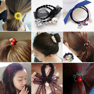 韩国甜美发饰发圈淑女头绳扎头发橡皮筋简约皮套发带百搭头饰发绳