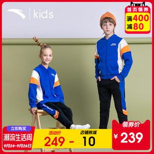 安踏童装男童运动套装2020春秋新款儿童中大童连帽卫衣裤子男女款图片