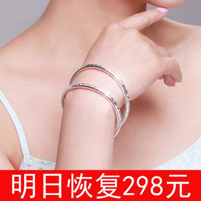 正品银色波西米亚实心开口手镯森系百搭韩版镯子女手环七夕节礼物