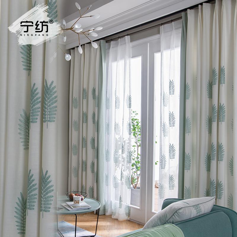 窗帘遮光卧室客厅成品简约现代飘窗纱帘阳台北欧风in落地窗帘布